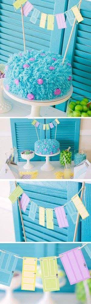 Adorno de torta sencillo para torta de Monster INC - http://xn--manualidadesparacumpleaos-voc.com/adorno-de-torta-sencillo-para-torta-de-monster-inc/