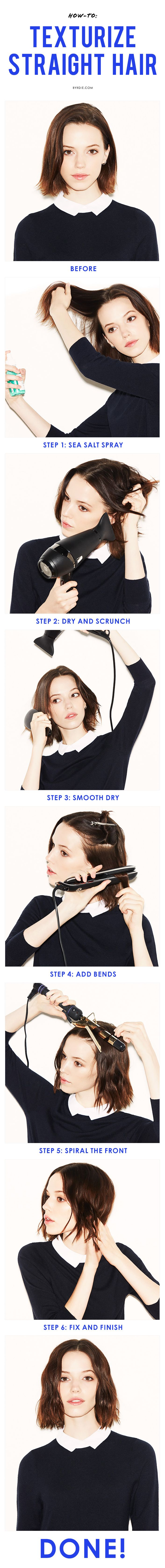How to give stick-straight hair model-off-duty texture. // #Hair #Tutorial