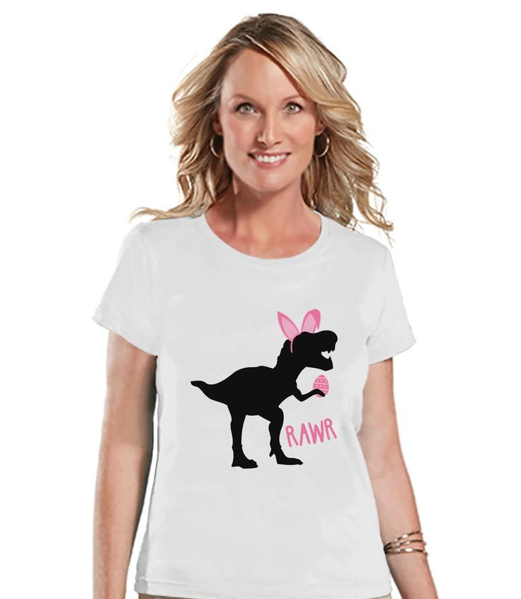 Womens Easter Shirt - Ladies Pink Dinosaur Happy Easter Shirt - Funny Dino Easter Tee - Gift for Her - Funny Bunny Dinosaur - White T-shirt