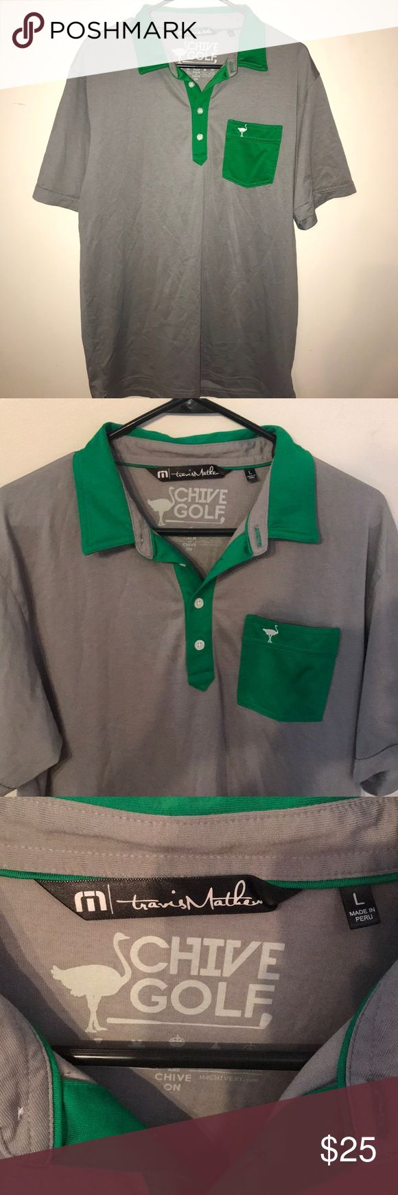 THE CHIVE🍀 Men's Golf Travis Mathew Polo Shirt Awesome CHIVE shirt!!! Size Large. Like new. Chive logo on pocket, sleeve, and back of shirt.   KEEP CALM AND CHIVE ON! Travis Mathew Shirts Polos