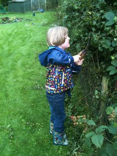 How far should you let a child go when using garden tools?