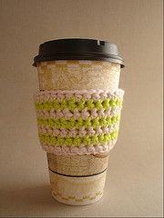 Crochet Coffee Cup Cozy (16 oz) with tute - CROCHET