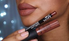 "@NYXCOSMETICS ""BROWN"" LIPLINER & ""DUBAI"" SOFT MATTE CREAM LIPSTICK"