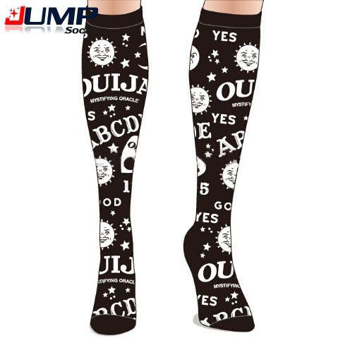 1pair Women cartoon Knee Socks European and American Fashion Personality Cartoon Sun and Moon Letter Retro harajuku style