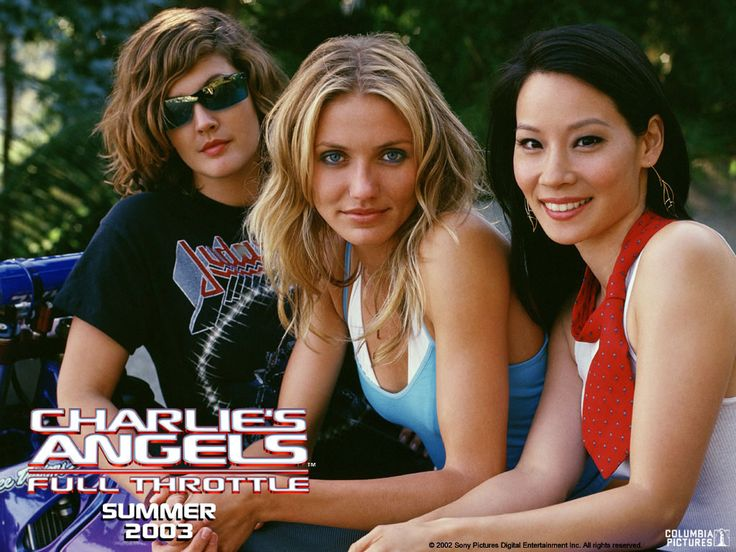 """Charlie's Angels: Full Throttle,"" 2003 film starring Drew Barrymore as Dylan Sanders, Cameron Diaz as Natalie Cook, and Lucy Liu as Alex Munday"