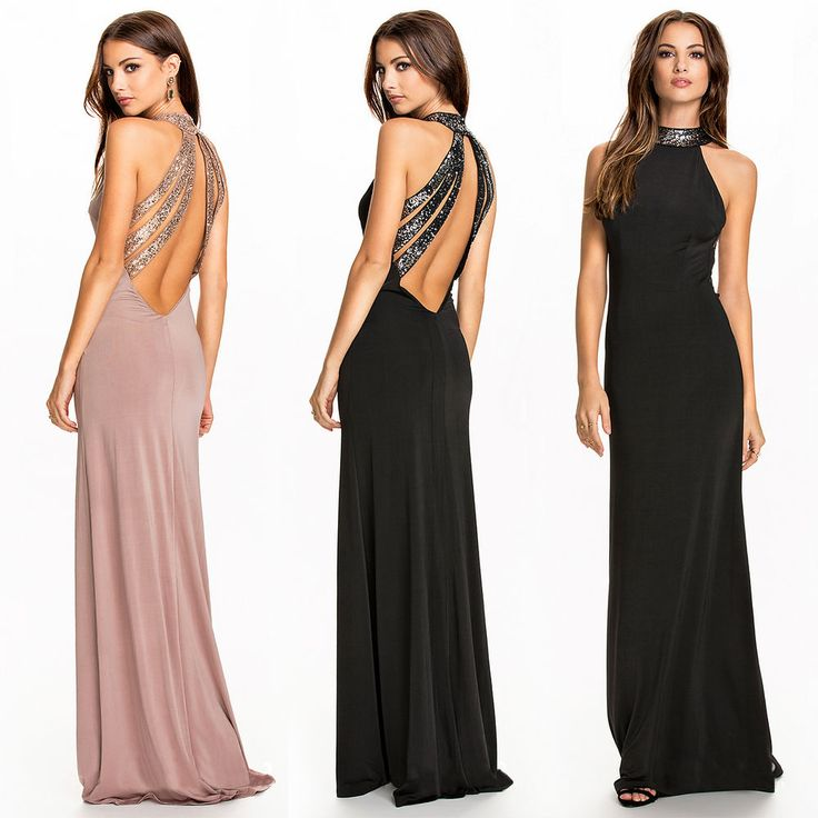 Women Backless Bandage Ball Prom Gown Formal Evening Party Cocktail Long Dress  #Fashion #DeepVneckBodyconLongEveningDress #CocktailFormalDressyPageantEvening