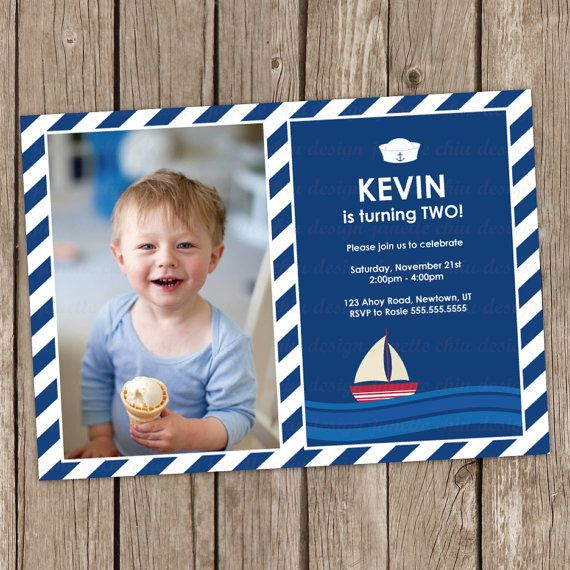 Little Sailor Birthday Party Photo Invitation Digital Printable, Any Wording Any Color Any Age-with anchor background