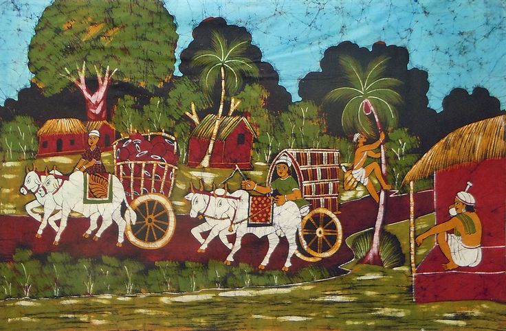 Indian Village Scene (Batik Painting on Cotton Cloth - Unframed)