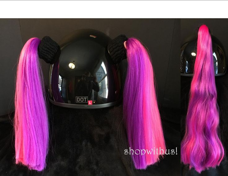 Pink and Purple Helmet Pigtails / Ponytail Motorcycle Skate Bike Snowmobile ATV  #GEARAPE