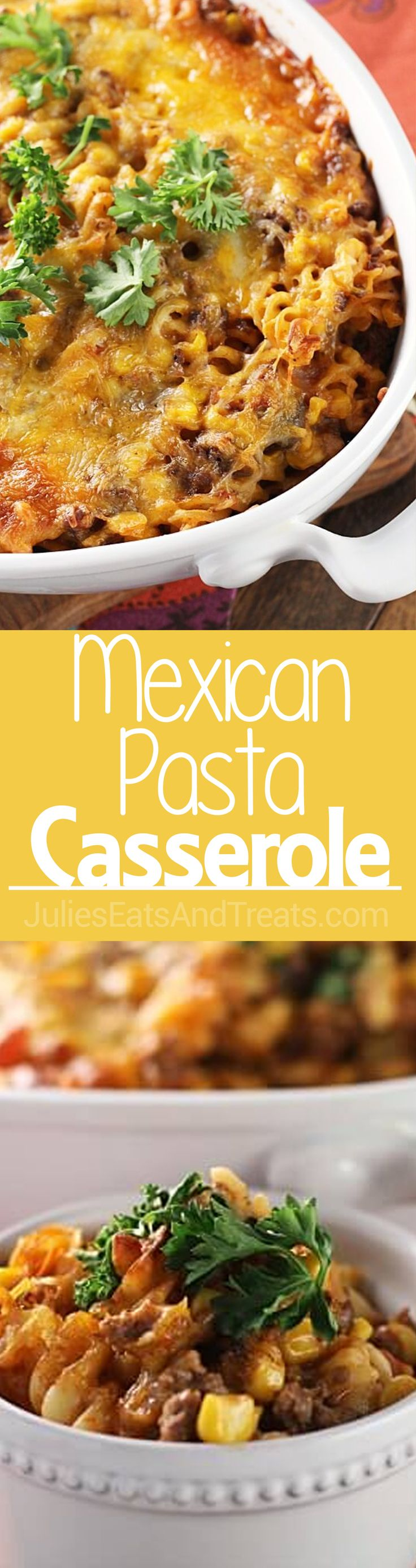 Mexican Pasta Casserole ~ Easy Casserole Loaded with Pasta, Beef, Salsa, Corn and Mexican Cheese! via @julieseats
