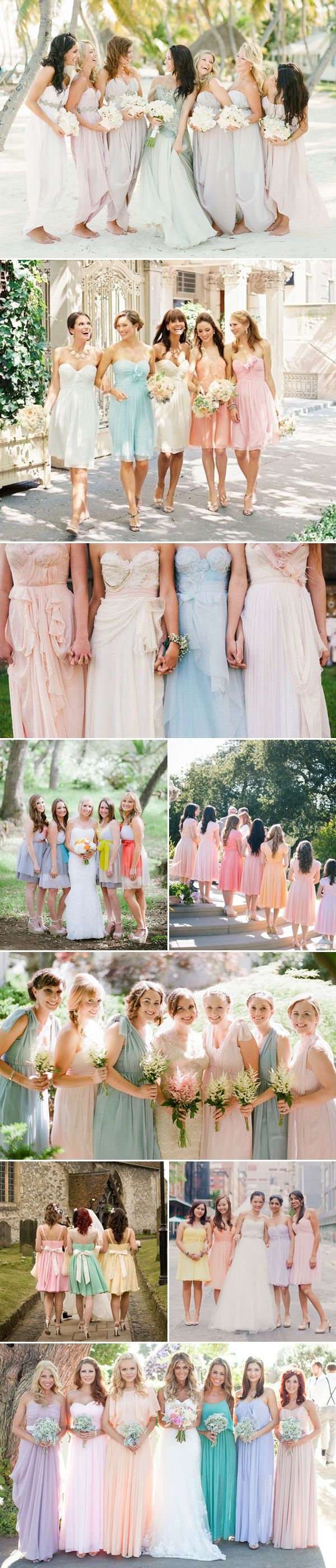 Pastel Mismatched Bridesmaid Dresses - Different Color, same or similar styles