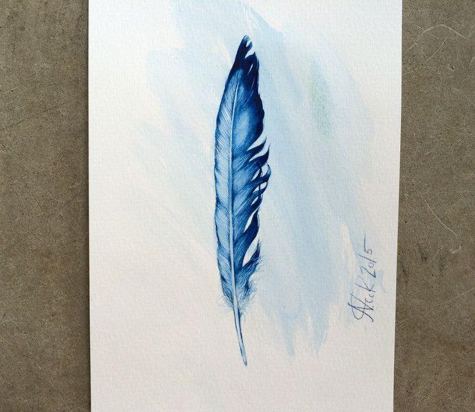 """Original Zeichnung """"Vogelfeder"""" in blau von Arteck auf DaWanda.com"""