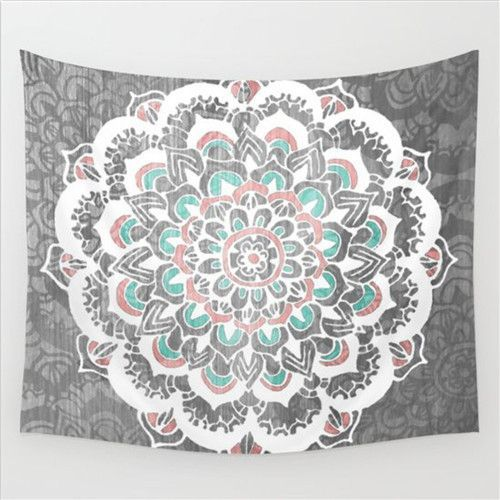 Gray And Teal Flower Mandala Tapestry