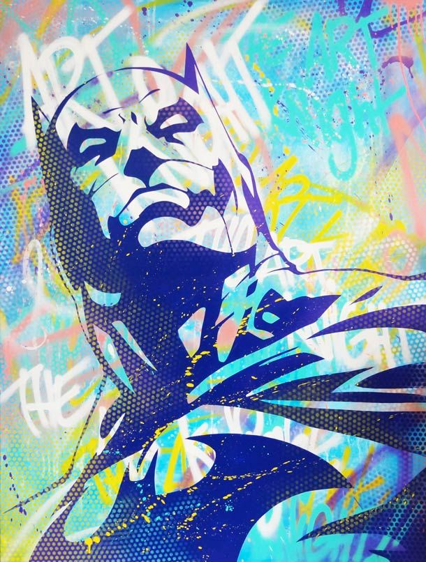 Entre pochoirs, collages et acrylique, les créations de l'artiste françaisAnthony Noble, très inspiré par le monde des comics américains, des manga et du