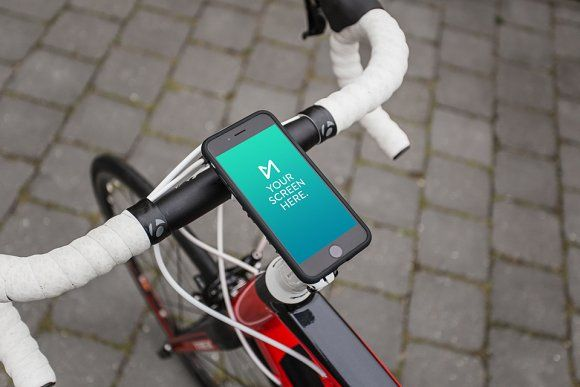 Download Iphone 6 Space Gray On Bicycle By Device Mockups On Creativemarket In 2020 Iphone Iphone 6 Web Mockup