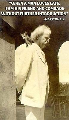 """[""""Cuando un hombre ama a los gatos, soy su amigo y compañero sin más introducción"""" -Mark Twain]"""