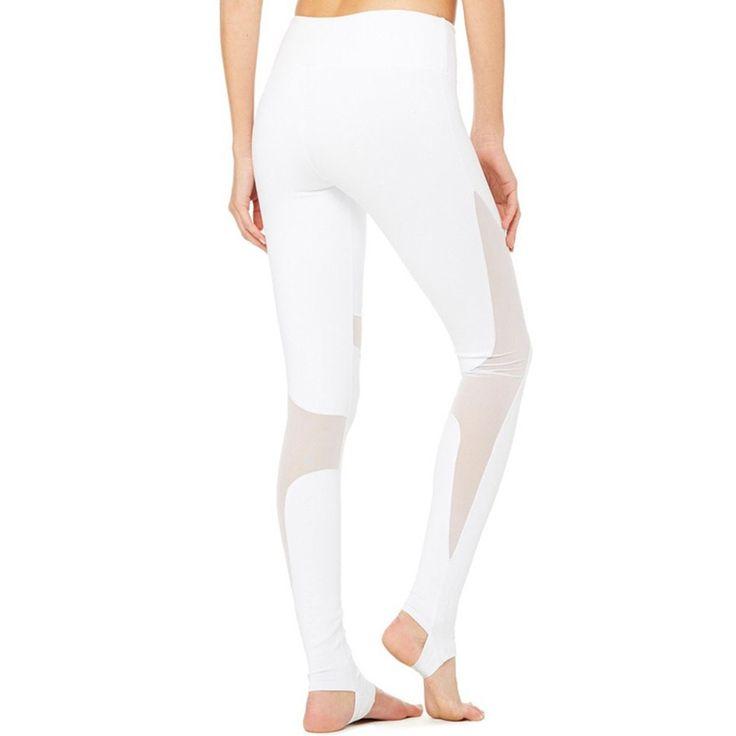 AyoPanda Women Mesh Patchwork Leggings High Waist White Yoga Pants Breathable Sports Pants For Fitness Gym Stirrup Tights
