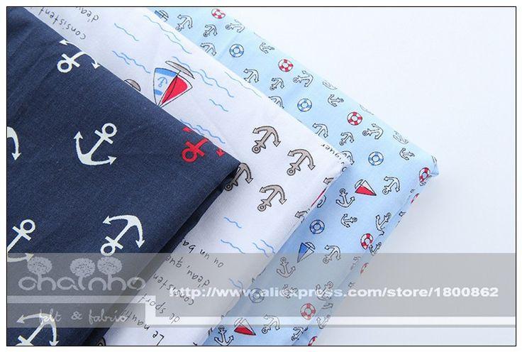 Wholesale Product Snapshot Product name is Хлопчатобумажные ткани швейные поделки ручной работы Hometextile ткань для платья занавес якорь серия большой лоскутная океан стиль 40 * 50 см