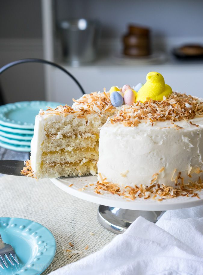 Beautiful Easter cake recipes: Coconut Lemon Layer Cake at I Wash You Dry