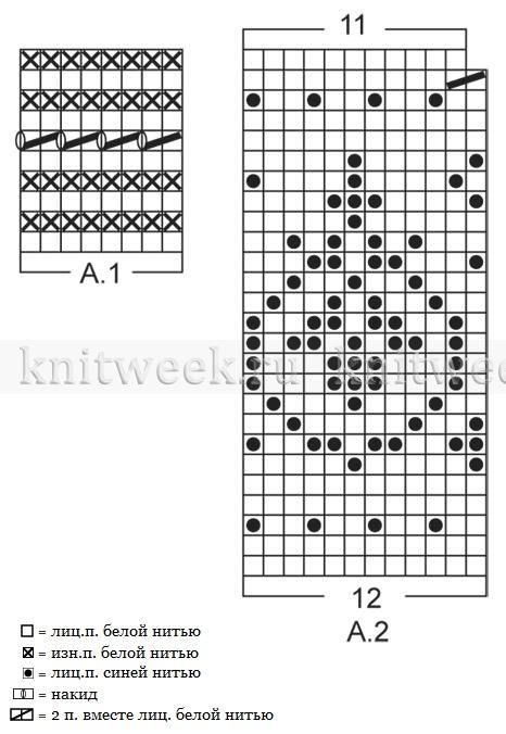 Носки спицами с жаккардом - Схема 1