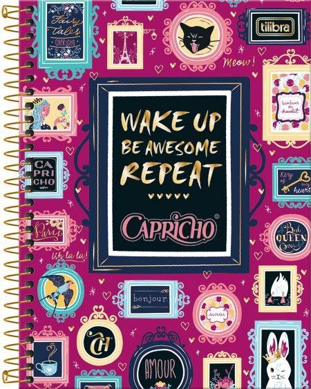 Caderno Espiral Capa Dura Colegial 8 Matérias Capricho 160fls