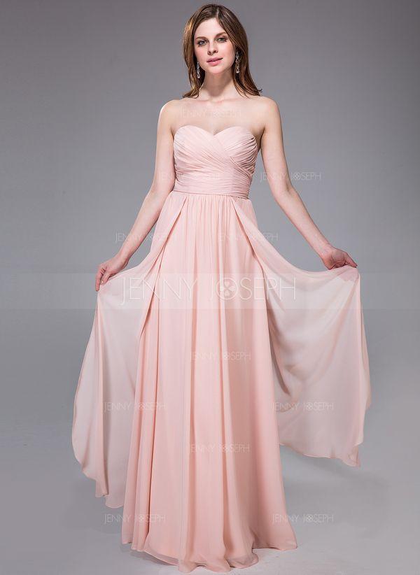 A-Line/Princess Sweetheart Floor-Length Chiffon Bridesmaid Dress With Ruffle (007037166)