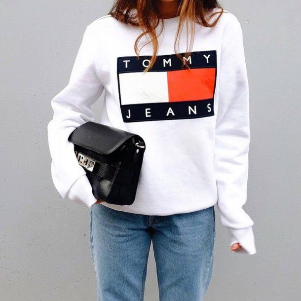 Top: tumblr tommy hilfiger white sweatshirt sports sweater bag black bag proenza schouler jeans
