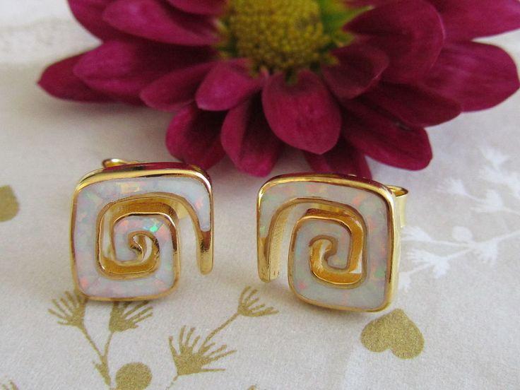 Weiß-Opal Ohrstecker 925 Sterling Silber Vergoldet Ohrringe Opalohrringe 10mm
