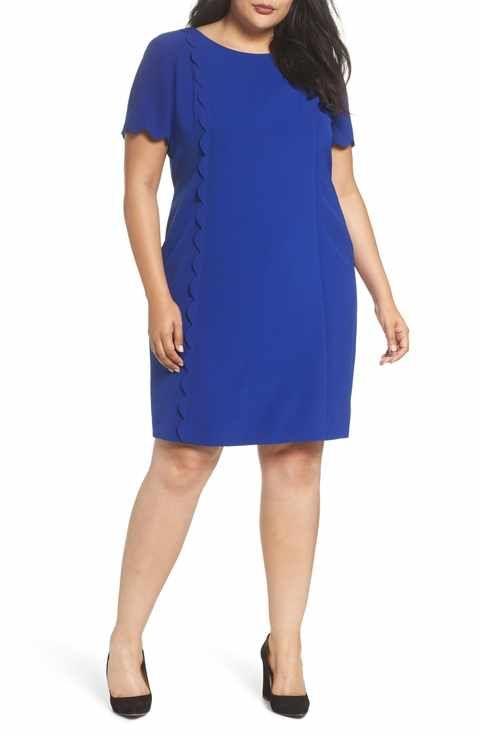 Tahari Scalloped Trim Shift Dress (Plus Size)   For me in India ...