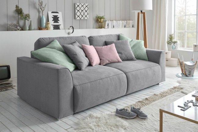 Modernes Design Big Sofa WEEKEND Grau Schlaffunktion Mit Bettkasten Und Kissen Dieses Wird Zum Eleganten Eyecatcher In Ihrem ZuhauseDer Pflegeleichte