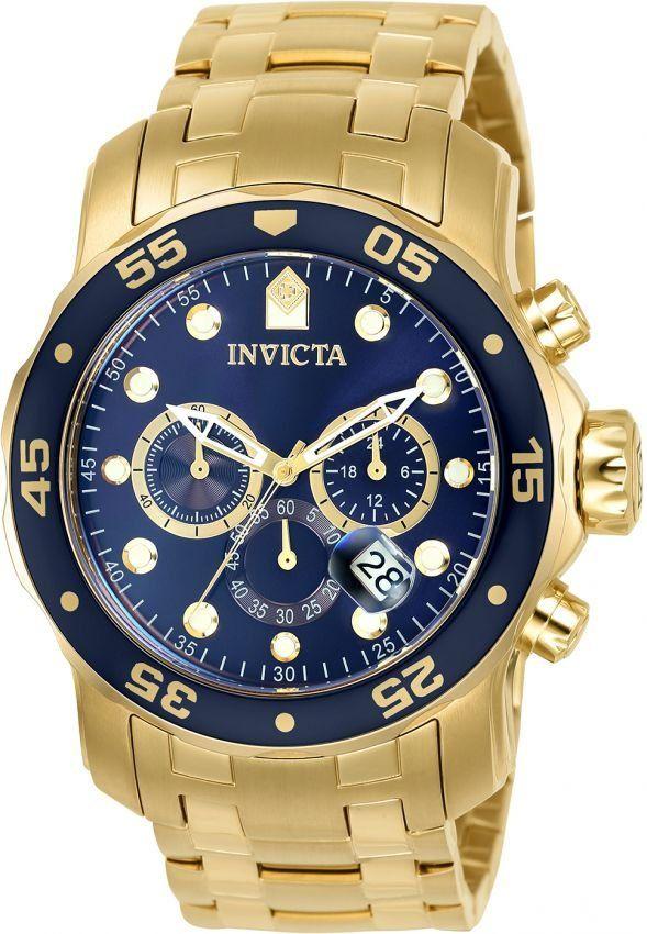 a1e61d3ea78 Relógio INVICTA Original Pro Diver 0073 Banhado a Ouro 18k Cronógrafo  Mostrador Azul
