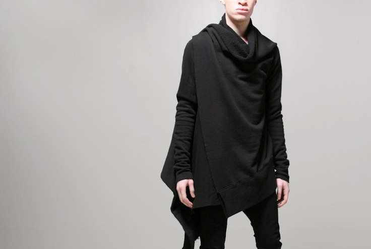 mens l/s wrap black - Long sleeve wrap in black by OAK. An OAK women's favorite available in a men's fit. Longer center back and larger arms.    Model wears size 1 - 20 W x 28 L (shortest) 36.5 L (longest), 33 sleeve  Fabrication:100% cotton   Made in the U.S.A.
