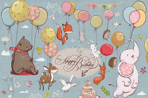 Animals Flying With Balloons Balloon Illustration Cute Animals Balloon Animals