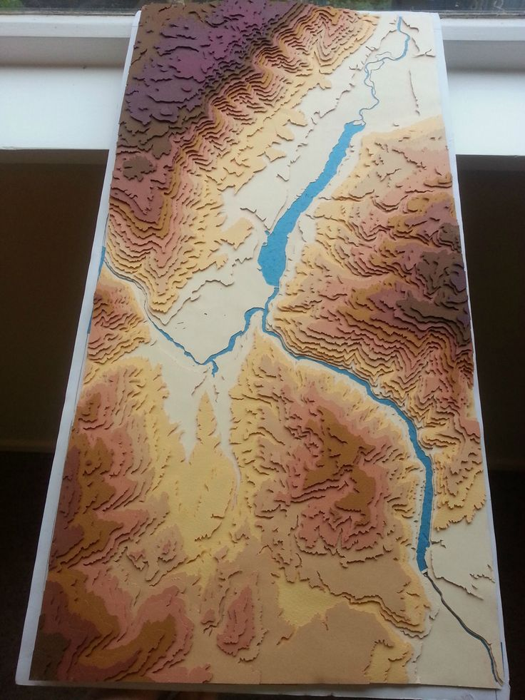 3D Topographical map of Cromwell & Lake Dunstan New Zealand. Each layer of paper represents 100m. By humanbeingarobot #map #newzealand #papercraft