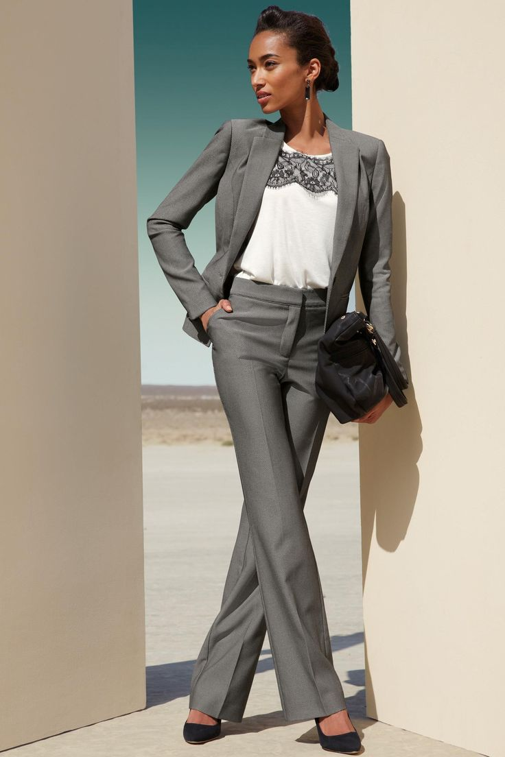 Grey Suit Female Office Attire