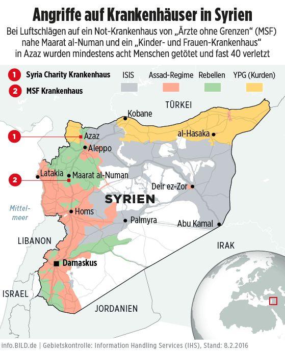 Karte: Angriffe auf Krankenhäuser in Syrien - I'mRightAgain:Dr.#Steinmeier HasNoLuck+von wegen Feuerpause/No #ceasefire+#Putin NotTrustable+EU #dreamers only;D http://www.bild.de/politik/ausland/politik/politik-eilmeldung-syrien-44566922.bild.html