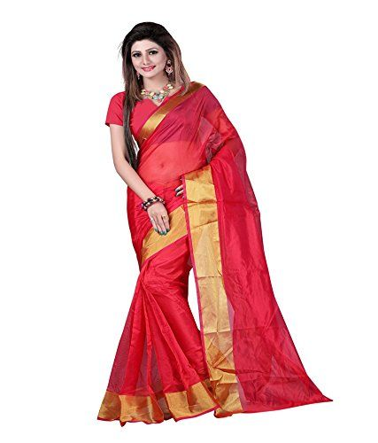 Return favours, Amazon online shopping, Sdesai Fashion Red Plain Art Silk Saree With Blouse Piece(red)