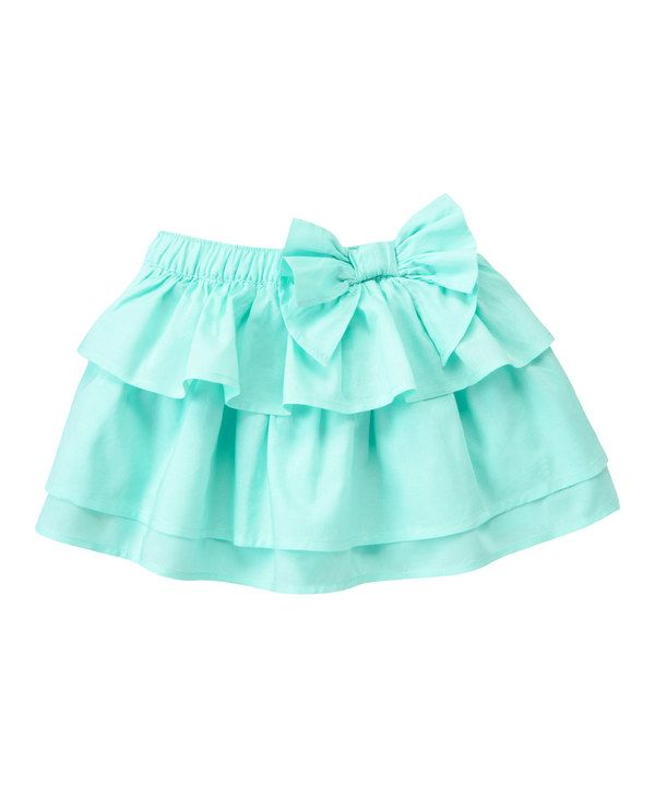 Look at this Aqua Bow Tiered Skirt - Infant, Toddler & Girls on #zulily today!