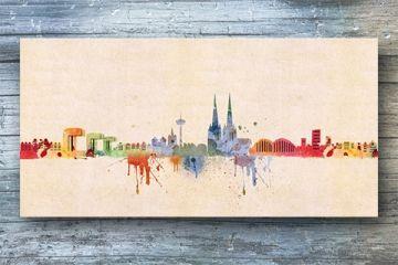 Kölner Skyline Aquarell   Leinwand Von Kunstbruder