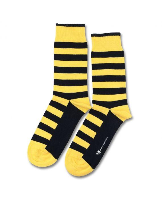 Democratique Socks Originals Striper Bright Yellow | Navy