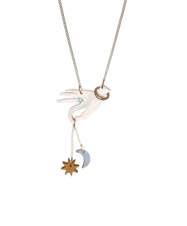 Libra Birthday Necklace - Designed to celebrate the 12 signs of the Zodiac, the Libra Birthday Necklace is the perfect present. A laser cut hand holds a miniature sun and moon, detailed with an iridescent star to create our playful twist on this classic symbol.