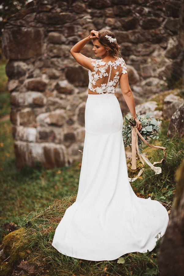 Styled Bridal Shoot in Finland. Jere Satamo Photography. Dress made by Pukuni (www.pukuni.fi). Lace back wedding dress, crop top bridal gown.