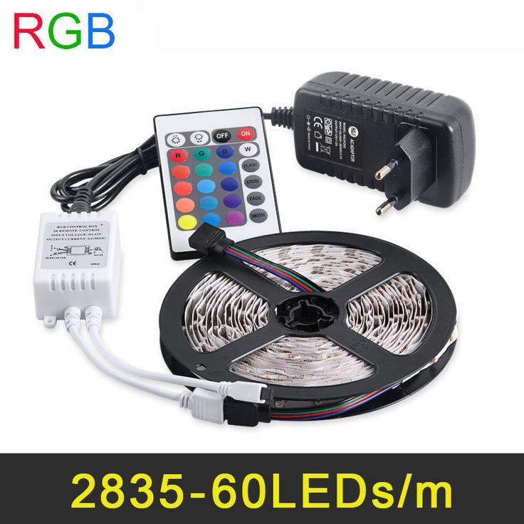 RGB LED Strip 5 M 60 Leds/m 2835 SMD Fleksibel Cahaya LED Tape Dekorasi pesta Lampu DC12V 2A Power Adapter + IR Remote Controller
