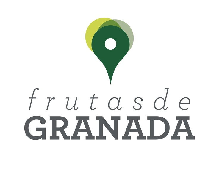 """Logo for """"Fruits from Granada"""", based on 2 concepts: the Google Maps pin for showing a location and the shape and colors of their main product: the avocado."""