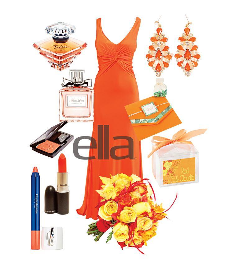 #Vestido #drapeado. Mimi Boutique. #Aretes con aplicación de piedras. Mimi Boutique. #Tarjeta elaborada en colores tropicales. Elite Designs. #Vela en #vaso nevado. Liz Regalos & Detalles. #Bouquet de #rosas #naranjas y #amarillas con #plumas. Floristería Evelyn. Lápiz #labial textura cremosa Elizabeth Arden. Almacenes SIMAN. #Lipstick tono Morange de M.A.C. #Blush #naranja. Almacenes SIMAN. Eau de Toilette Miss Dior. Almacenes SIMAN. Trésor de Lancôme. Almacenes SIMAN. #ElSalvador #EllaBoda