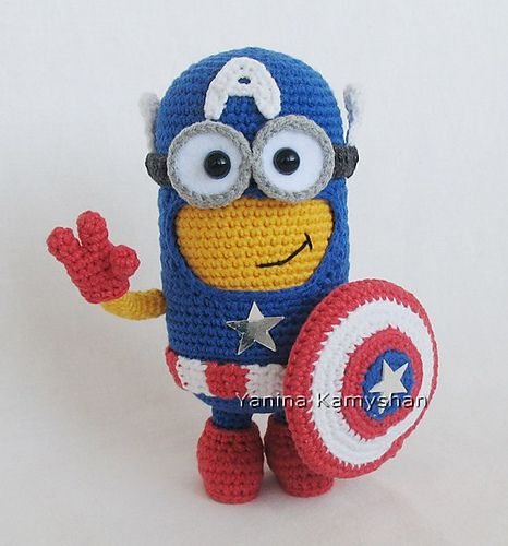Hero Monster by Amigurumi Fair - pattern available via Ravelry to buy now   Captain America Minion!!