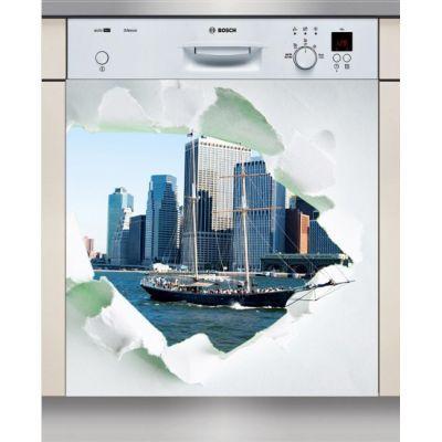 Sticker Lave Vaisselle ville déchirure, création Imprim'Déco, magasin vente en ligne stickers de décoration