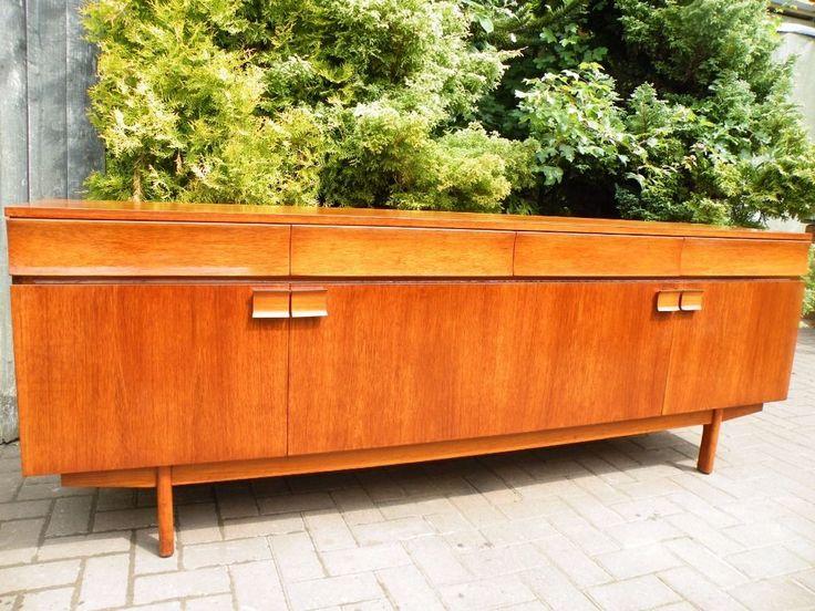 Danish Mid Century Modern Teak Sideboard Credenza Cabinet Record CabinetLiving Room