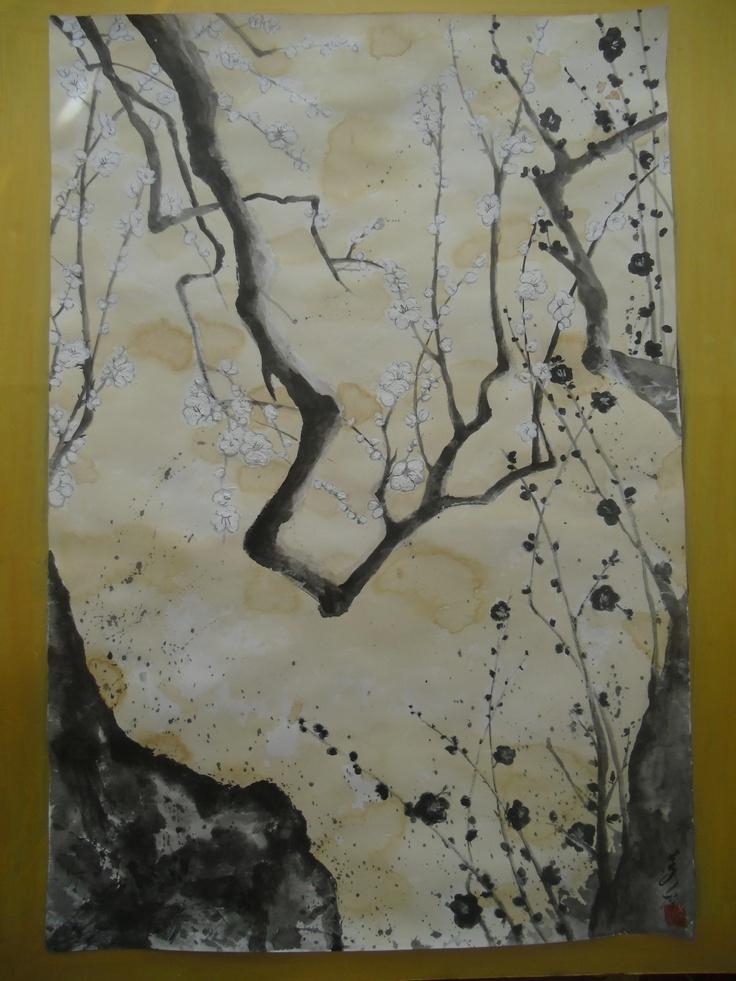 sumie--Japanese plum      80cm x 50cm