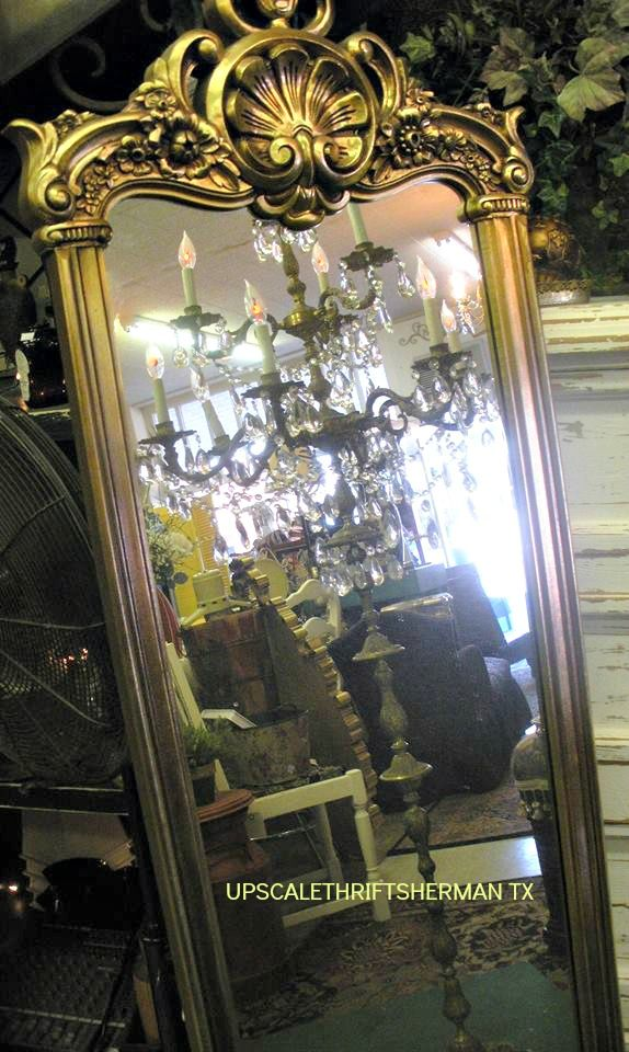 Very Vintage And Ornate Standing Chandelier Lamp Gold Mirrors At Upscale Thrift Sherman Texas
